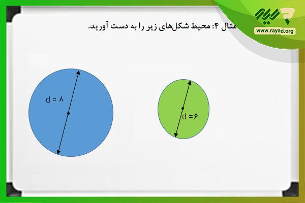 نمونه سوال محاسبه محیط دایره با قطر